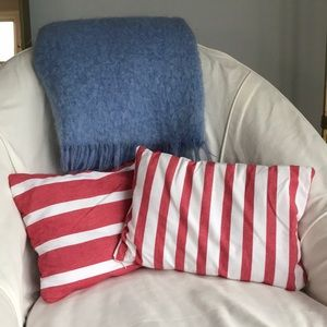 Wisteria Pillow Covers Red + White Striped Cotton